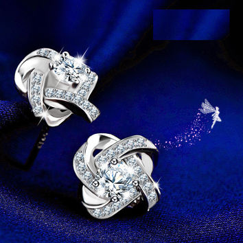Accessory Korean Stylish Diamonds Silver Earrings [10427402516]