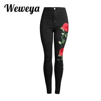 Weweya New Womens Ripped Denim Pants Female Skinny Trousers Embroidery Jeans High Waist Black Vintage Jeans Pantalon Femme