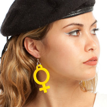 Yellow Jumbo Girl Power Earrings
