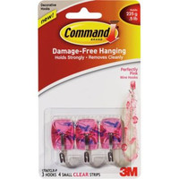 3M (17067CLR-P) Perfectly Pink Small Wire Hooks with Clear Strips 17067CLR-P