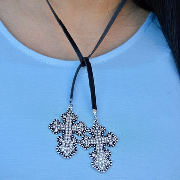 Cross Choker Long Necklace