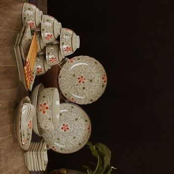 Guci Bowl set 31 tableware Jingdezhen ceramic Japanese underglaze color hand painted creative dish disc wedding gift