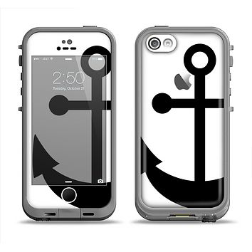 The Solid Black Anchor Silhouette Apple iPhone 5c LifeProof Fre Case Skin Set
