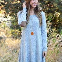 Grey Loose Long Sleeve  Open Back Dress