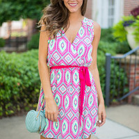 Disco Diamonds Dress, Fuchsia