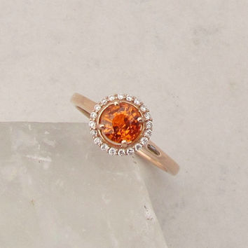Orange Sapphire Engagement Ring in 14k Rose Gold Diamond Halo Gemstone Engagement Ring Wedding Anniversary September Birthstone
