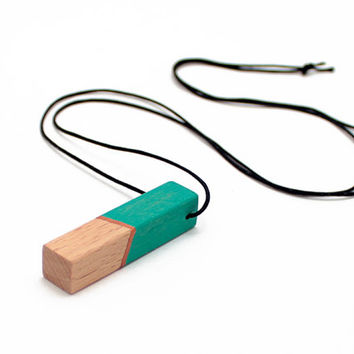 Geometric wooden necklace - emerald green, bronze, natural wood - minimalist, modern jewelry