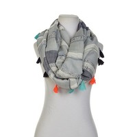 Betsey Johnson Metallic Stripe Loop Scarf - 7958609 | HSN