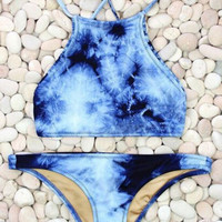 2017 New Tie Dye Blue Boho Bikini Swimsuit Set High Neck Halter Crop Top Brazilian Swimwear -03116