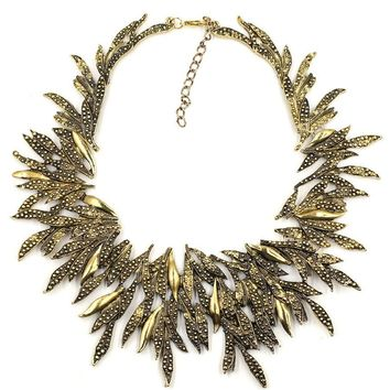 Casual Metal Floral Bib Statement Necklace