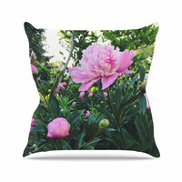 """Chelsea Victoria """"Pink Peonies"""" Green Floral Outdoor Throw Pillow"""