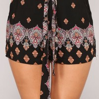 Cute AF Shorts - Black/Multi