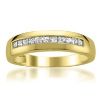 14k Yellow Gold Princess-cut Diamond Men's Wedding Band Ring (1/2 cttw, H-I, SI2-I1):Amazon:Jewelry