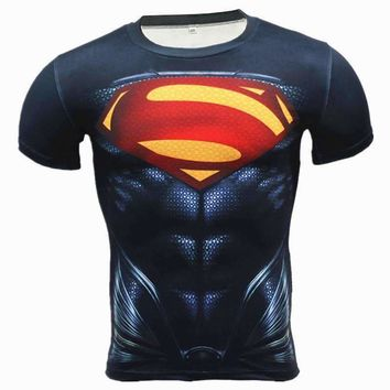 Deep Blue Superman Short Sleeve Superhero Compression Rashguard