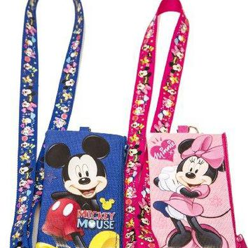 Disney Set of 2 Mickey and Minnie Mouse Lanyards with Detachable Coin Purse by na