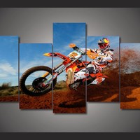 Motorcycle Racing Dirt Bike Rider Racing 5 piece panel wall art print picture