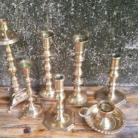 Brass Candlestick Collection Set of Seven