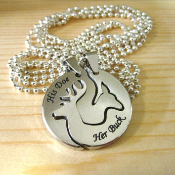 Her buck his doe engraved deer head necklace pair two sides interlocking one for him and her metal perfect gift idea for couples 30mm