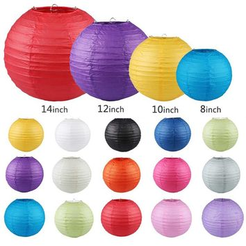 "10Pcs/set 14 Colors Chinese Round Paper Lanterns Lamp Birthday Wedding Party Xmas Hanging Carft Festival Venue Decor 8""  10""  12"