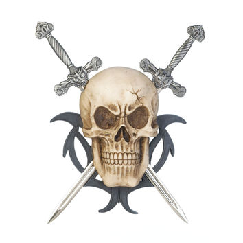 Wall Plaques Decor,personalized Door Plaques, Mount Skull Two Swords Wall Plaque