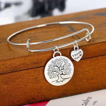 Fashion Life Tree Heart Bracelet Love Forever Family Gifts Women Wedding Jewelry Party Friend Bracelets Souvenirs Charm Dangle