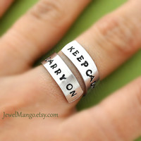 Keep calm and carry on ring Custom Ring Personalized by JewelMango