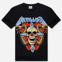 Black 3D Metallica Print Short Sleeve Graphic T-Shirt