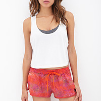 FOREVER 21 Dot Print Woven Running Shorts Hot Pink
