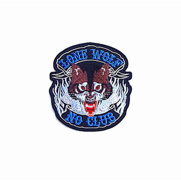 Lone Wolf No Club Embroidered Applique Iron on Patch