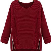 Wine Red Side Zip Slit Knit Sweater