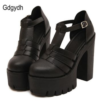 Gdgydh Hot Selling 2017 New Summer Fashion High Platform Sandals Women Casual Ladies Shoes China Black White Size EUR 35 to 40