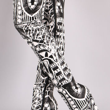 Graphic Print Peep Toe Cone Heeled Over-The-Knee Boots