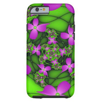 Modern Abstract Neon Pink Green Fractal Flowers Tough iPhone 6 Case