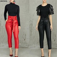 women new sashes high wasit ruffles faux leather PU ankle length pencil skinny pants fashion red black trousers GLCX093