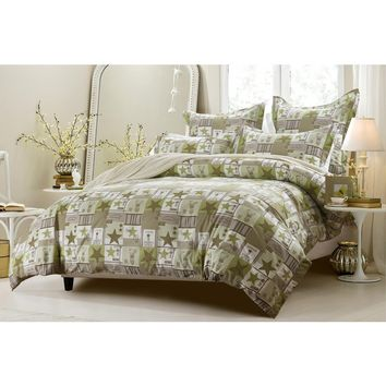 5PC PATCHWORK GREEN BROWN DUVET COVER SET STYLE # 1010 - CHERRY HILL COLLECTION