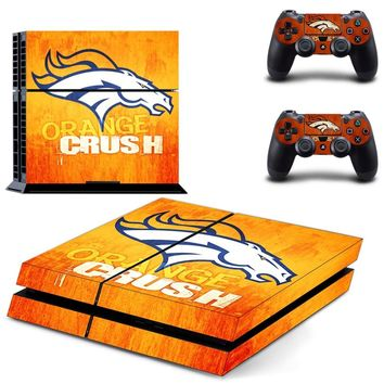 Denver Broncos PS4 Skin Sticker Decal For Sony PlayStation 4 Console and 2 Controllers PS4 Skins Stickers Vinyl