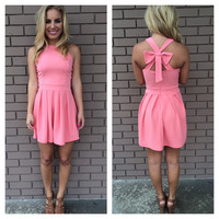 Cross Bow Dress - Pink