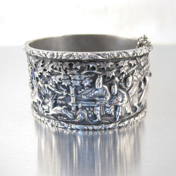 Antique Chinese Repousse Silver Bracelet, 19th Century Battle Scene Warriors Solid Silver Bangle Bracelet, Sun Shing Canton Wedding Bracelet
