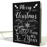 Retro Chalkboard Snowman Merry Christmas and Happy New Year card