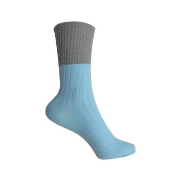 Cashmere Light Rib Turn Cuff Crew Socks in Blue and Gray