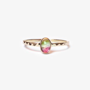 Watermelon Tourmaline Engagement Ring, 14k Gold Ring, Modern Engagement Ring, Modern Wedding Ring, Stackable Ring, Gemstone Ring, Mood Ring