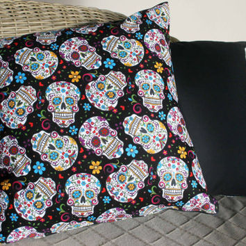 Day Of The Dead / Sugar Skull Cushions Cover (Black)
