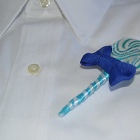 Blue Lollipop Candy Boutonniere
