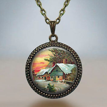 Vintage Christmas Sunrise Red Snow Little Village Resin pendant Antique silver bronze gift for him for her gift