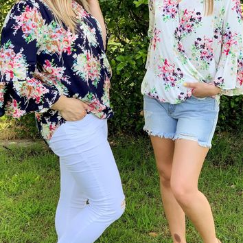 Fresh Start Navy Floral Wrap Top