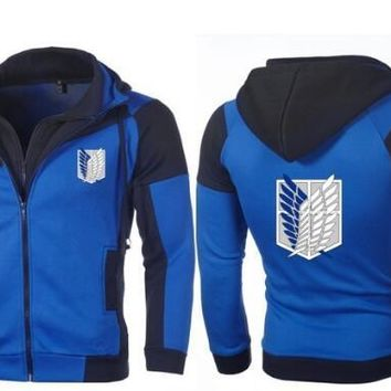 Cool Attack on Titan 2018 New Anime Hoodie Warm  Personality Color Double Zip Hooded Cardigan Slim Fitting AT_90_11