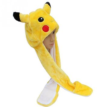 Cartoon Soft Short Plush Warm Pikachu Hat Cartoon Animal Scarf Cap Earflaps Gloves Children Kids