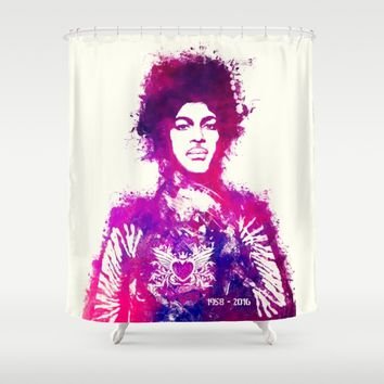 Prince watercolor purple Shower Curtain by GreatArtGallery