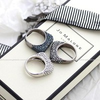 girlsluv.it - square shaped ring with crystals, 3 colors