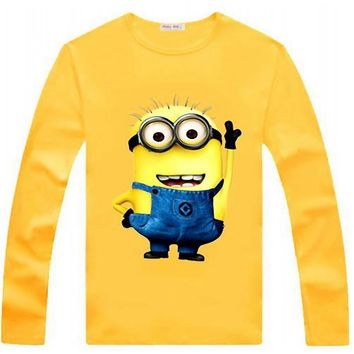 New 2016 100% Cotton boys t shirt despicable me 2 minion short t-shirts kids baby children t shirts child long sleeve clothes